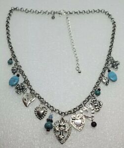 Premier Designs Heart's Desire Silver Turquoise Hearts Cross dangles Necklace