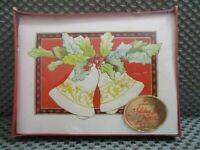 "Hallmark 10 Holiday note cards 5"" x 3 3/4""  Bells & Holly  NIB"