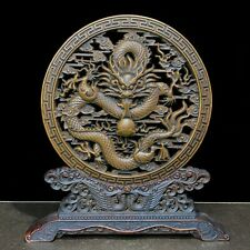 Old Vintage Boxwood Japanese Netsuke Hollow Out Dragon Folding Screen Statue C92