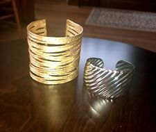 silver tone - adjustable - Welcome spring! Two cuff bracelets - gold tone and