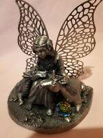 Fee Figur mit Einhorn Drache Kugel Fairy Tails UK Metall Swarovskistein Rarität