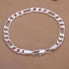 New Men Fashion Jewelry Silver Plated 8MM Flat Sideways Chain Cuff Bracelet