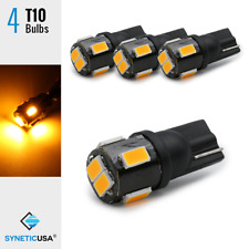 4x T10 W5WB 920 160 6-LEDs 3000K Amber Yellow Dome Map Door Interior Light Bulbs