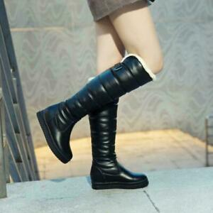 Women's Warm Knee High Boots Shoes Fur Lining Shoes Waterproof Snow Boots Comfy