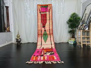 "Moroccan Boujaad Handmade Runner Rug 2'4""x10'9"" Berber Geometric Pink Red Carpet"