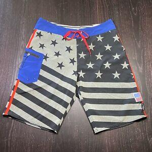 Volcom Stone Brand Mens Board Shorts Size 32 Surfing Swimming Trunks USA Flag