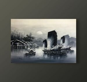 S. CHEUNG, JUNKS, BLACK AND WHITE OIL ON CANVAS, CONTEMPORARY PAINTING VIETNAM