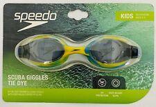 Speedo Kids 1 pair Soft Frame Silicone Swim Goggles Scuba Giggles Tie Dye Blue