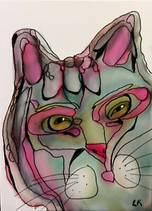 """ACEO original squinted CAT pink outlined painting by Lynne Kohler 2.5x3.5"""""""