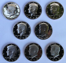1971 - 1979 PROOF Kennedy Half Dollar Coin Collection 8 Coins from US Mint Set