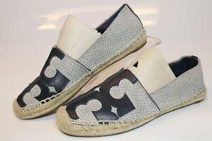 Tory Burch 1168702 Womens 7 M Blue Tweed Fabric Espadrilles Flats Shoes