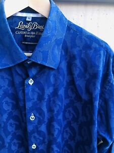 LANSKY BROS Clothier to the King Blue Men's Shirt Size XL MISSING CUFF BUTTONS