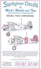Starfighter Decals 1/72 BOEING F4B-3 Fighter Decals with Vertical Stabilizer