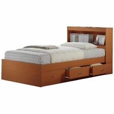 Hodedah Twin Size Captain Bed with 3 Drawers and Headboard in Cherry