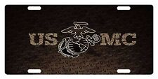 USMC Custom License Plate US Marines Corps Emblem  USMC Brown Version III