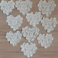 Lot 20 Vintage Crochet Small Ivory Heart Doilies