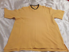 M&S Men's Bright Gold with Black Trim V-Neck T-Shirt Size M