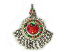 Antique India Ethnic Tribal Coin Silver Glass Amulet Pendant