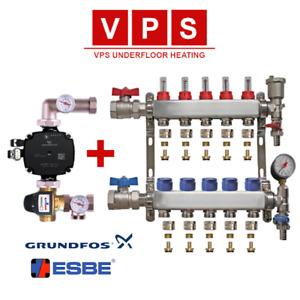 Wet Underfloor Heating Manifold 2-12 Zone A Rated Grundfos Pump & Esbe Valves