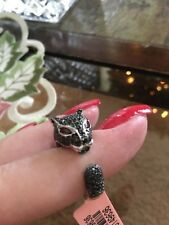Size 8-1.25ct Black Spinel/Garnet Sterling/Platinum Panther Ring