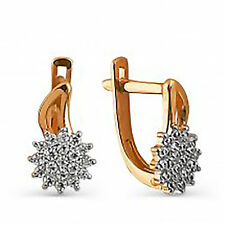 585 Russian Rose Gold 14ct Leverback Hoop Huggie Shine Earrings  Gift Boxed