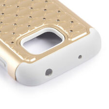 For Samsung Galaxy S7 ACTIVE - HYBRID DIAMOND BLING ARMOR CASE COVER GOLD GRAY