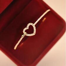 Glamorous Women 9K Gold P Rhinestone Heart Shape Bracelet Bangle Cuff New