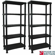 2 x Storage Shelving Shelves Unit 5 Tier Racking Plastic - Extra Large (BLACK)