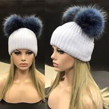 Light blue Fur pompom Beanie hat 2 natural raccoon dyed BLUE detachable bobbles