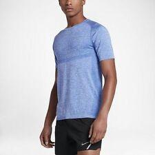 Nike Dri-FIT Knit Mens Short Sleeve Running Shirt XL Blue Training Top New