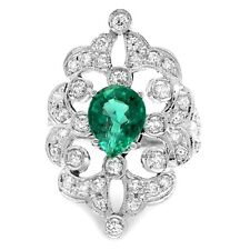 3.25Ct Natural Emerald & Diamond 14K Solid White Gold Ring