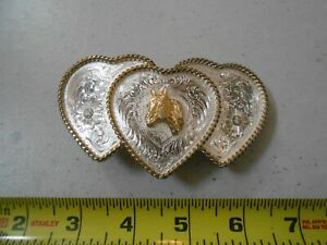 VINTAGE HORSE / THREE HEART RODEO BELT BUCKLE MONTANA SILVERSMITH SILVER PLATE 3
