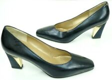 St John Womens Black and Gold Kitten Heel Made In Italy Size 5 1/2 A Pumps