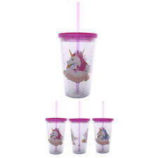 Unicorn Double Walled Cup with Lid and Straw - Travel Hot Cold Drinks Insulated