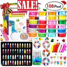 24 colors, DIY Crystal Slime Kit – Slime kits for Girls Boys Toys with 48 Glitte