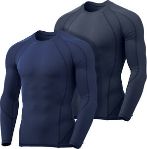 TSLA 2 Pack Men's UPF 50+ Quick Dry Long Sleeve Athletic Compression Shirts
