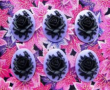 6 Unset Black Rose on Purple or Dark Lavender 40mm x 30mm Costume Jewelry Cameos