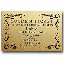 10 Golden Ticket Birthday Party Invitations 18th 21st 30th 40th 50th D368