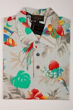 380$ Luxury LEONARD PARIS Polo Shirt Cotton Men Size XS FLOWER + FISH + PARROT