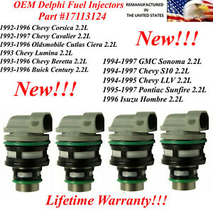 17113124 New 4x Delphi Fuel Injectors for various 1994-1997 Chevy S10 2.2L
