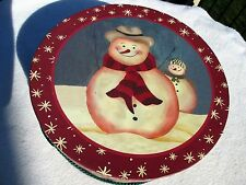 "Hat Box Vintage Snowman 16"" Diameter Storage Scarves Belts Shoes Makeup etc"