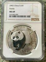 2002 CHINA PANDA 1 OZ SILVER COIN NGC MS 69 PANDA'S ASIA CHINESE PRC 10 YUAN Yn