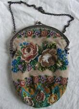 Top antique Dutch silver purse very fine micro beaded beadwork roses 1920