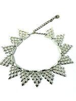 Vintage Statement Silver Tone Chain Choker Necklace