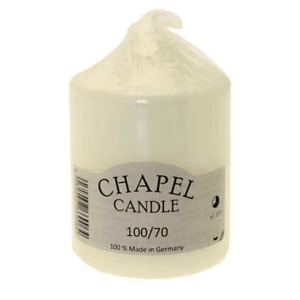 Chapel Candle. 100/70 Made in Germany, Ivory, 37 Hour Burn Time