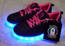 GIRLS SIZE 4 SNEAKERS FLASH LIGHTS RECHARGEABLE SHOES ON/OFF SWITCH - BRAND NEW