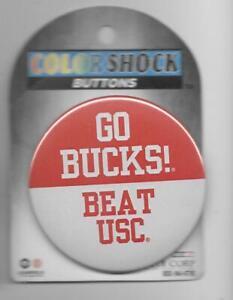 GO BUCKS! BEAT BEAT USC new on card Ohio State Buckeyes pinback button pin