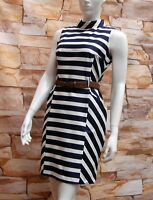 FLORENCE & FRED NAVY BLUE & WHITE STRIPED COTTON DRESS Sizes 6,8,10,12,14,16,20