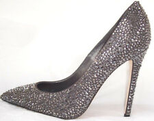 ENIO SILLA LE SILLA Silver Crystal Embellished Jeweled Pumps Shoes 37  6.5