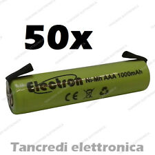 50pz BATTERIA RICARICABILE NI-MH AAA MINISTILO 1,2V 900mAh 11x45mm SALDARE NIMH